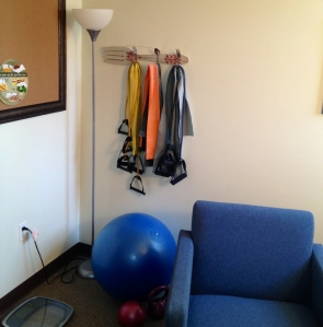 My workout corner in my office.