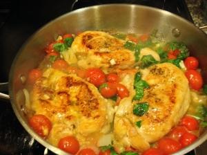 Bruschetta Chicken Served Over Spaghetti Squash
