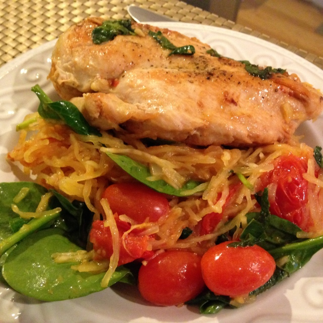 Bruschetta Chicken Served Over Spaghetti Squash