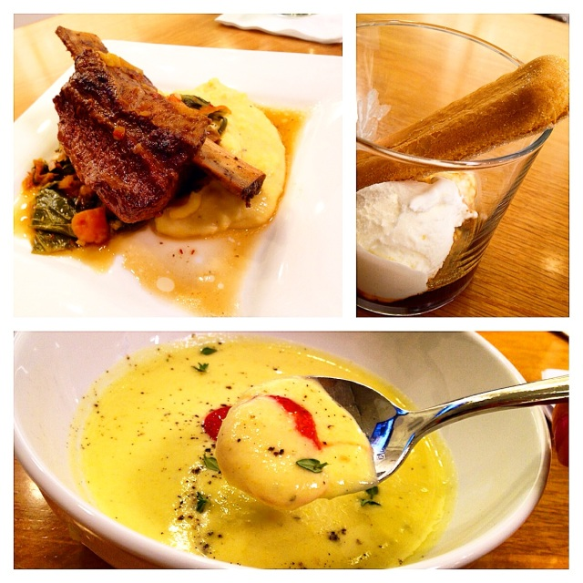 (1) Top Left: Braised Beef Short Rib Kalbi with Soft Grits and Scallions Collards with Country Ham and Kim Chi (2) Top Right:  Buttermilk Affogato: Creamy Buttermilk Ice Cream with Warm Espresso (3) Bottom: Chilled Yellow Squash Soup with Sour Cream and Salt and Sugar Cured Strawberries