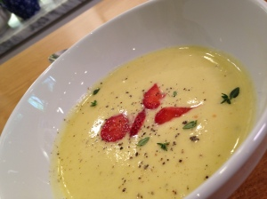 SUMMER SQUASH SOUP AND CURED STRAWBERRIES
