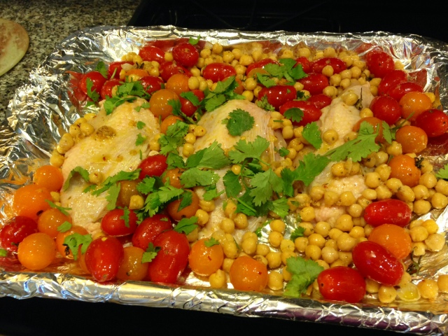Chicken Breast Served Over Roasted Tomatoes & Chickpeas